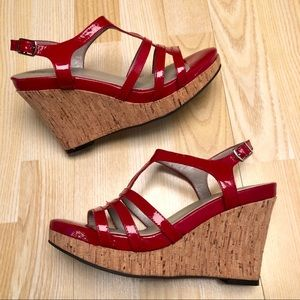 me too Red Patent Leather Cork Wedge Sandals